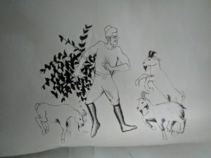Coffee legend; Kaldi, an Ethiopian goat herder dancing with his goats after eating coffee cherries