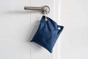 coffee grounds in a blue pouch